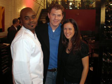 Nicole on the set of Throwdown with Bobby Flay.