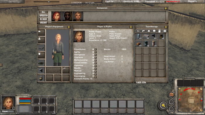 character panel