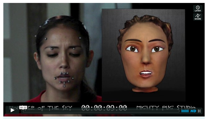 Side-by-side comparison - actor and digital puppet head