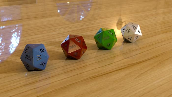 D20 Roman Numeral Polyhedral Design