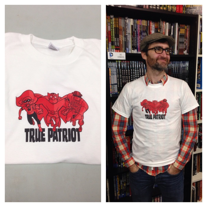 True Patriot T-shirt designed (and modelled) by J. Bone (100% cotton, adult sizes S-XXXL, youth sizes S-XL)