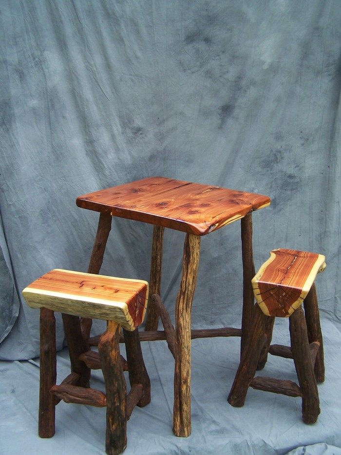 JPG Hand Built Pub Table with 2 Stools