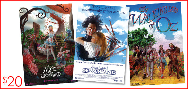 $20 to Add-On each art print of your choice. Choose from ALICE FROM UNDERLAND, DEADWARD SCISSORHANDS, and THE WALKING DEAD OF OZ!