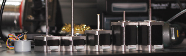 High specification motors from left to right - Nozzle, Z1, Z2, Extruder, X, Y. All have custom output shafts specifically designed for Robox®. Z1 and Z2 have metric fine thread (M5x0.5mm) for unprecedented Z resolution.
