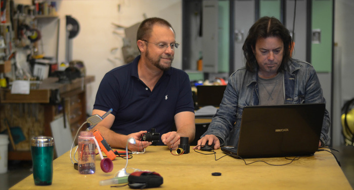 Burt and Dane preparing Hydrobee model in Autodesk software for 3D printing at the Makerhaus