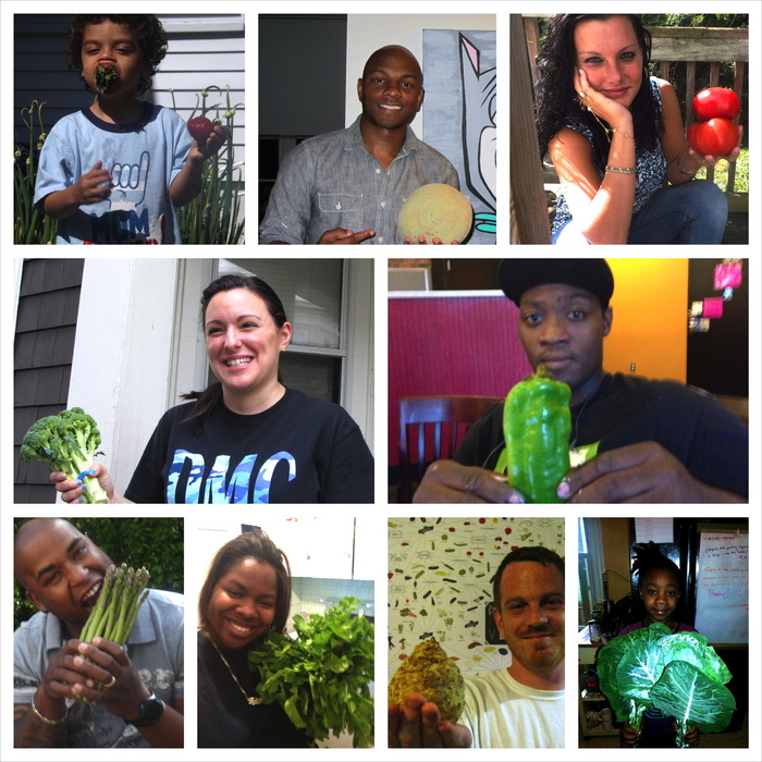 These are the people who live in Boston with the fruits and vegetables that grow in Boston