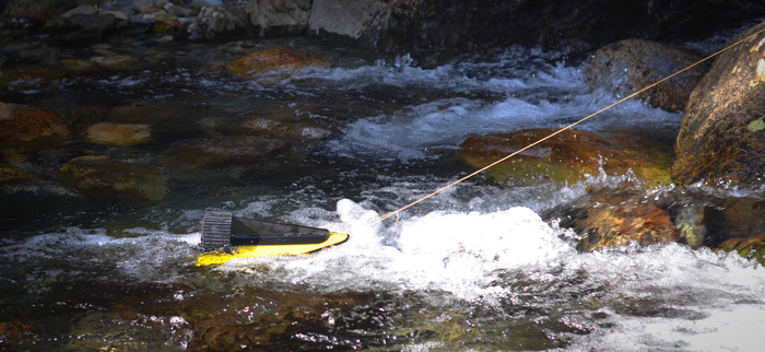 Hydrobee (Stream Body and Turbine Battery) charging up in a mountain stream