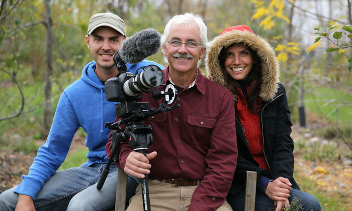 (From left to right) Olivier Asselin, Stefan Sobkowiak and Marcela Cussolin during the shoot at Miracle Farms.