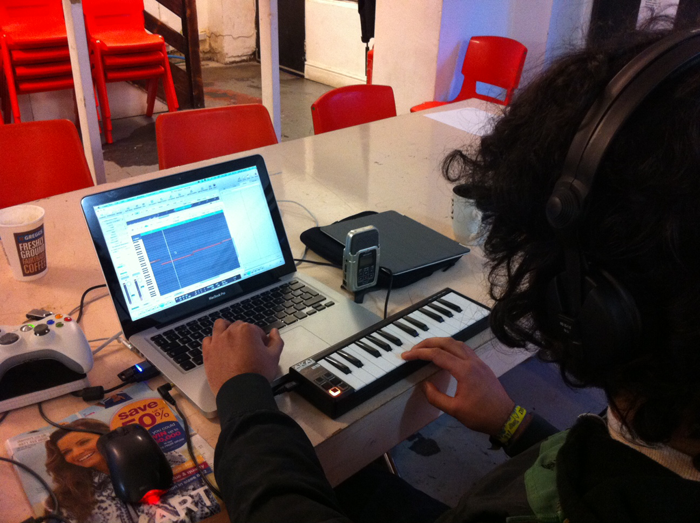 Jey hard at work, composing some epic soundtracks for the day!