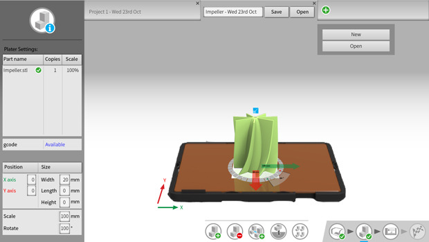 AutoMaker™ Beta 2.0 - Easy-to-use software for plating of multiple parts, with the option to save as a project before preparing to print.