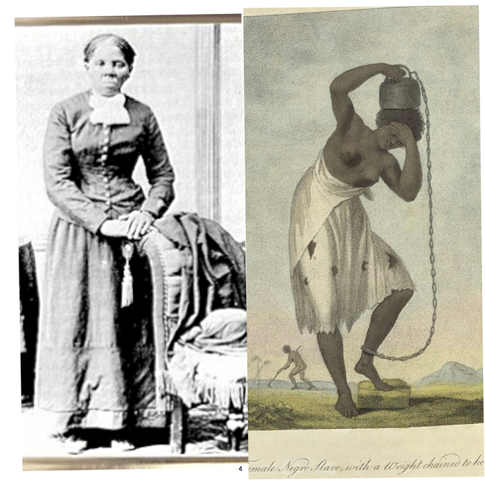 Harriet Tubman, 'Female Negro Slave with a Weighted Chain to her Ankle' by John Gabriel Stedman c.1796