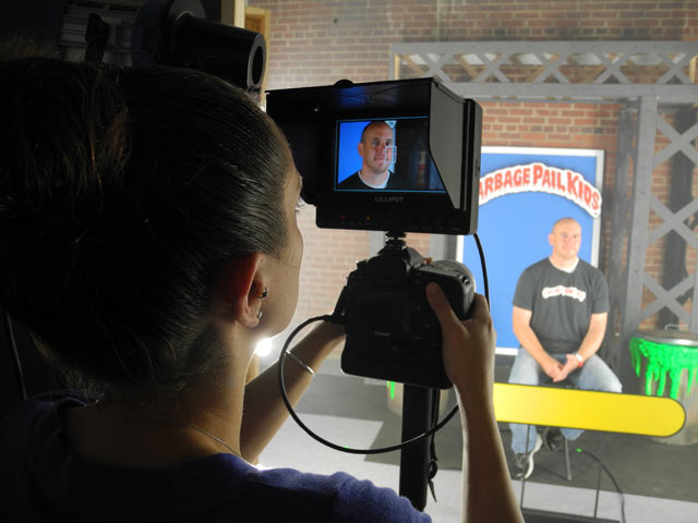 Camera Operator Libby Csulik filming an interview with Matt Oldweiler of geepeekay.com