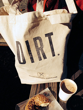 "DIRT tote bag ( approx. 14"" x16"" 10 oz. canvas)"