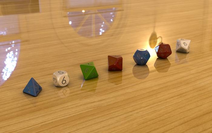 Polyhedral Set Dice Design (D4,D6,D8,D10,D12,D20,D1%)