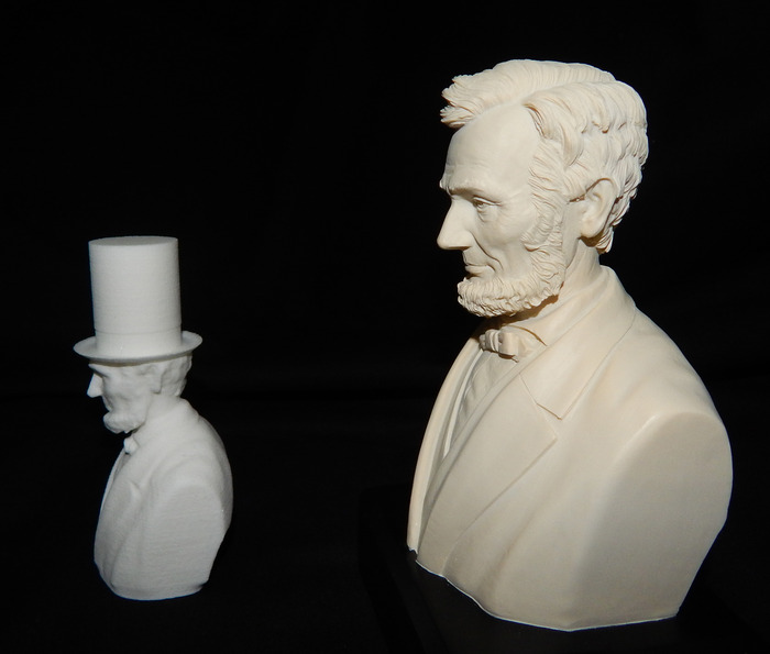 The model scanned with Robocular, was 3D printed professionally at the highest resolution available. Some details were lost since the scanner was much more accurate than the printer.