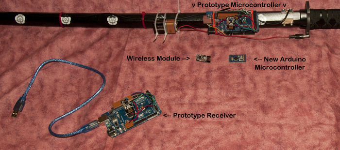 Components of Prototype Wireless Digital Katana