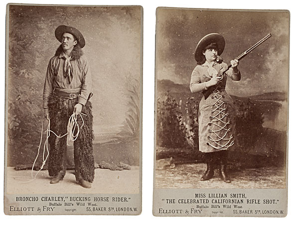 Bronco Charley and Lillian Smith, two stars of Buffalo Bill's Wild West Show. Photo taken on their visit to England in June, 1887.