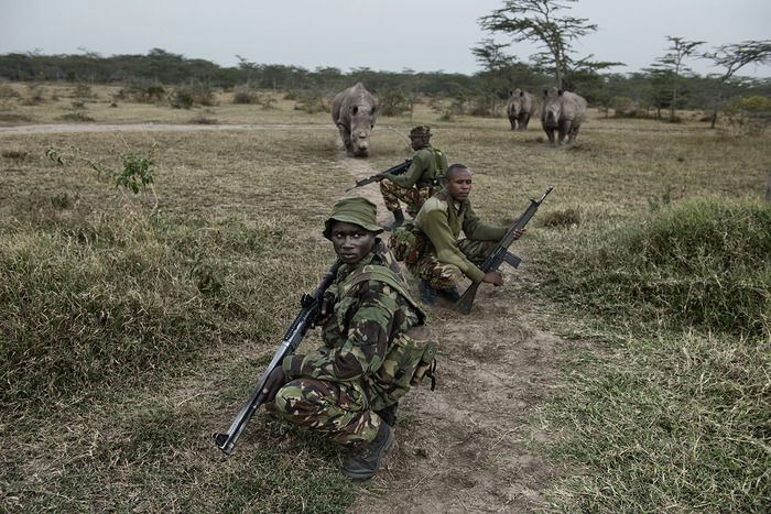 The Kenyan Police Reserve head out on evening patrol.