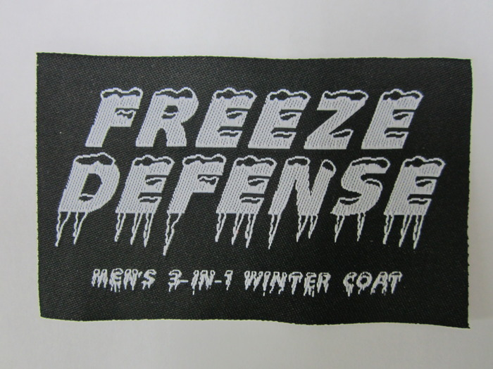 "Final ""Freeze Defense"" label for inside the coat"