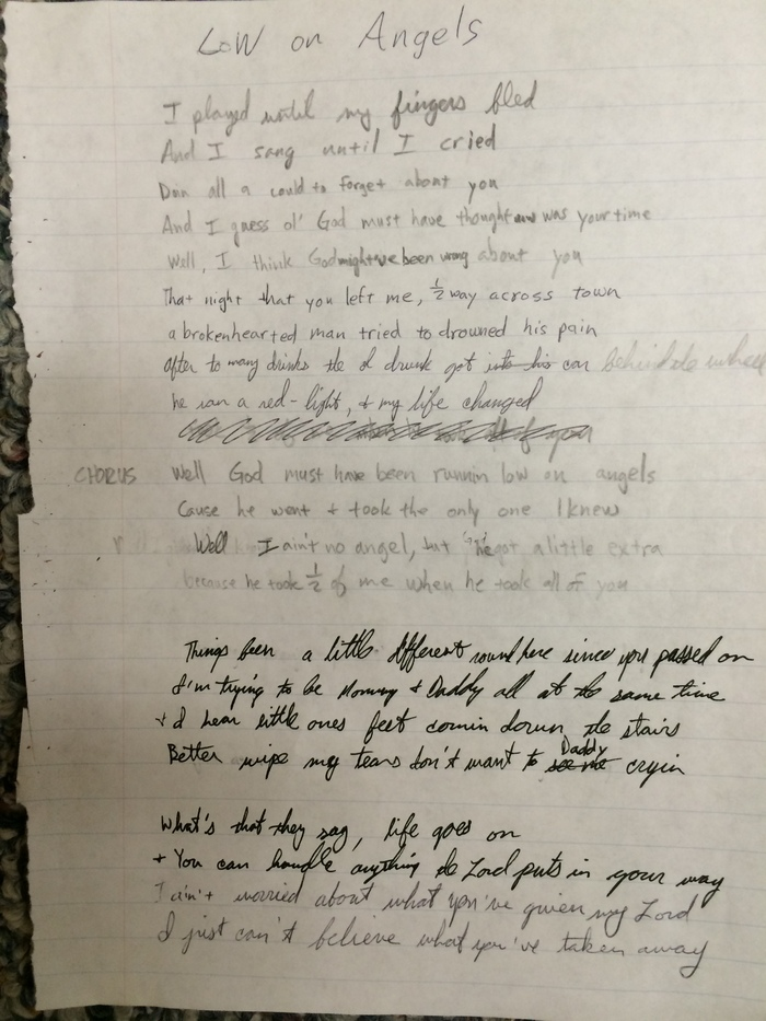 """The original manuscript of my song """"Running Low on Angels"""" from  around 2001"""
