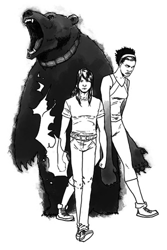 Baloo, Mowgli, and Bagheera, by Steven Sanders