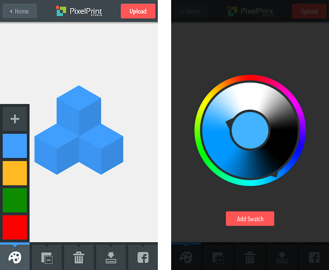 Left: The build screen in 3D mode with the 4 most recently used colours on the left. Right: The Colour-picker interface