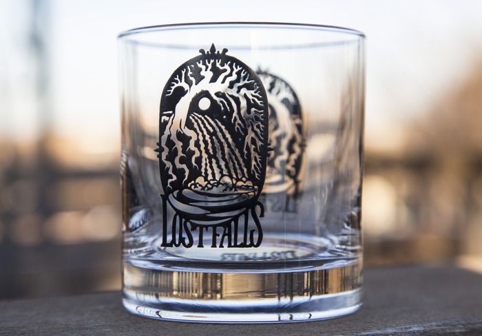 Our 11-ounce imprinted whiskey tumbler.