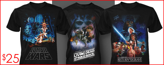 $25 to Add-On each shirt of your choice. (These are extra comfy shirts from Fright Rags) Choose from ZOMBIE WARS, THE LIVING DEAD STRIKE BACK, and RETURN FROM THE GRAVE. (S-XXL)