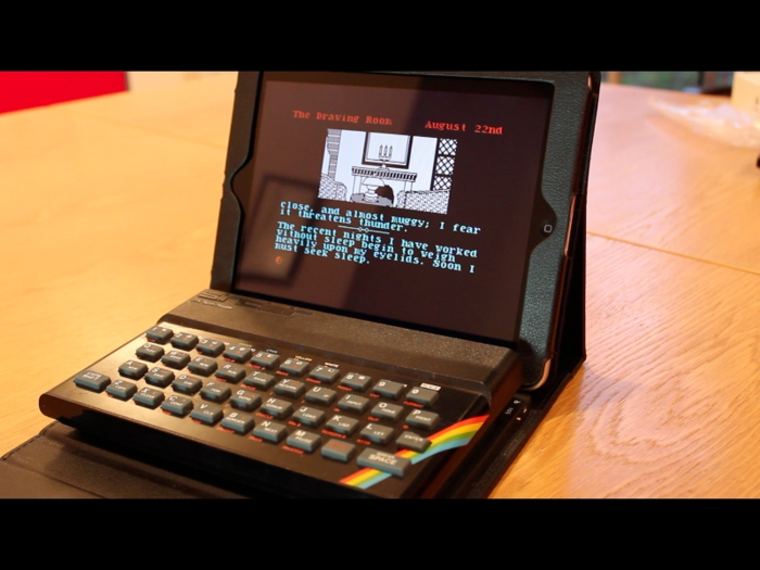 This is NOT the physical prototype Bluetooth ZX Spectrum (in fact it's a 48K Sinclair ZX Spectrum sitting next to an iPad) but - logo's aside - it does a better job than any CGI of illustrating how the physical prototype Bluetooth ZX Spectrum will look.