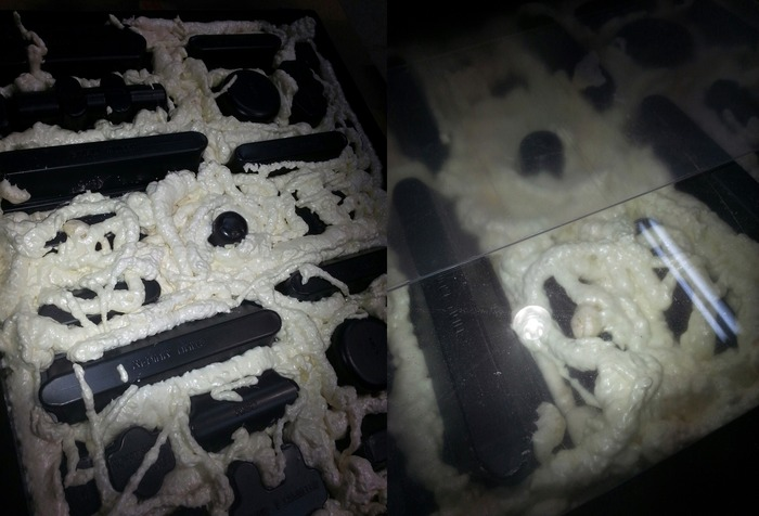 Left: Standard foam sprayed over the tray. Right: Sheets of plexiglass pressed against the tray in an attempt to guide the expanding foam to the edges.