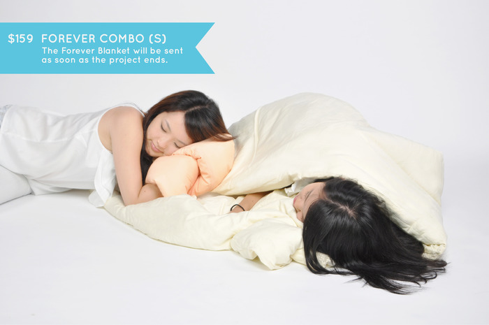FOREVER COMBO (S): Wrap yourself in continuity. One Forever Pillow of your choice and one Forever Blanket in cream (size 170cm x 90cm). Play around, bundle up and stay warm with the blanket that becomes a mattress and pillow as well! Big enough for two :)