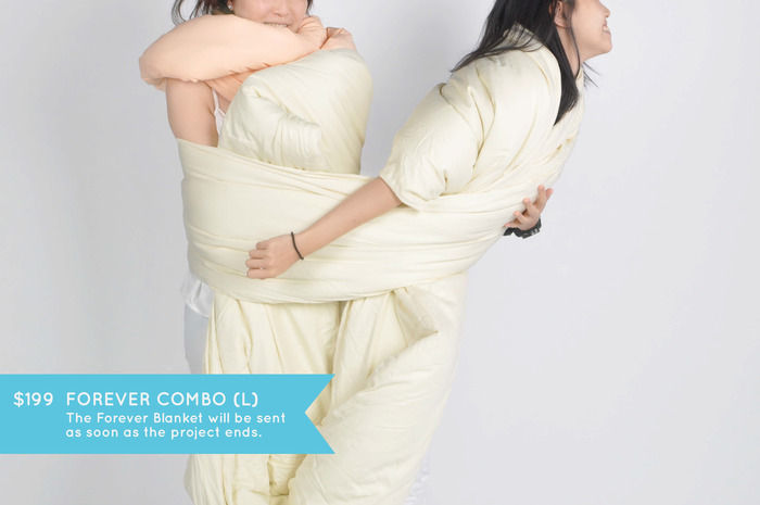 FOREVER COMBO (L): Wrap yourself in continuity. One Forever Pillow of your choice and one Forever Blanket in cream color (size 245cm x 110cm). It's big enough to bundle up a few!