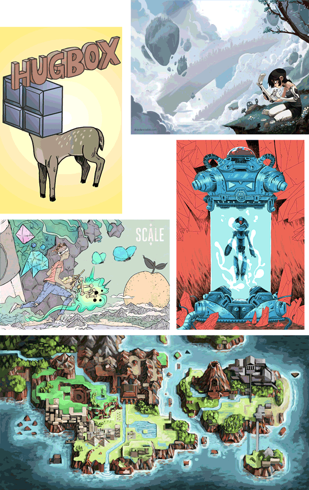 Print artists thus far: KC Green! Aaron Diaz! David Hellman! Zac Gorman! Cubeheart's own Dale Beran! Pledge at the $64 Dollar tier to receive one of their fine works! These samples here reflect their styles, final SCALE print designs tbd.