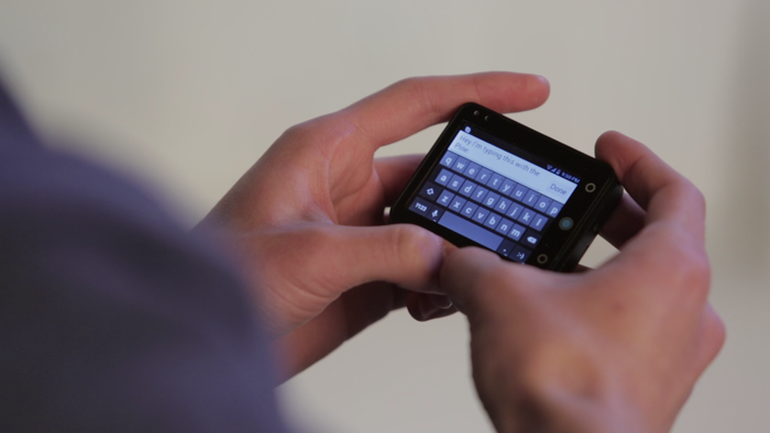 Typing on the Pine is as easy as typing on a regular smartphone.