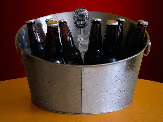 Clip the badge to the beer bucket for convenience.