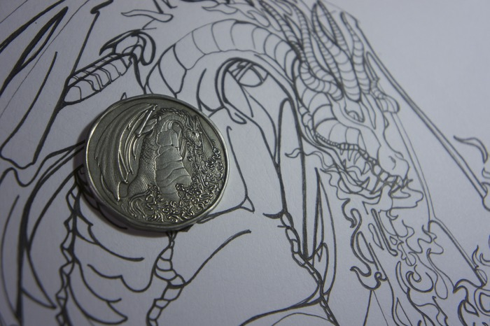 Fire Dragon Coin & original art.