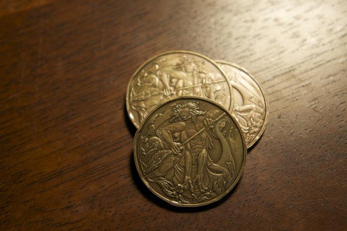 3 Water Naga Coins, 50 Denom