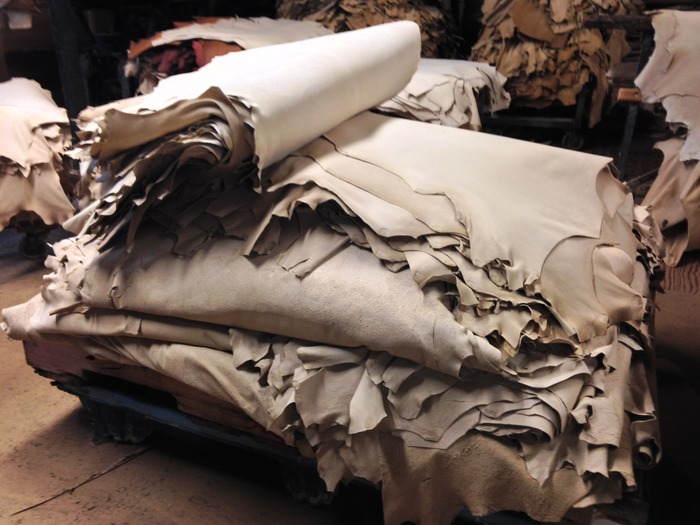 "150 ""natural"" skins, some to be dyed and some for the Baseball Wrap, all for us"