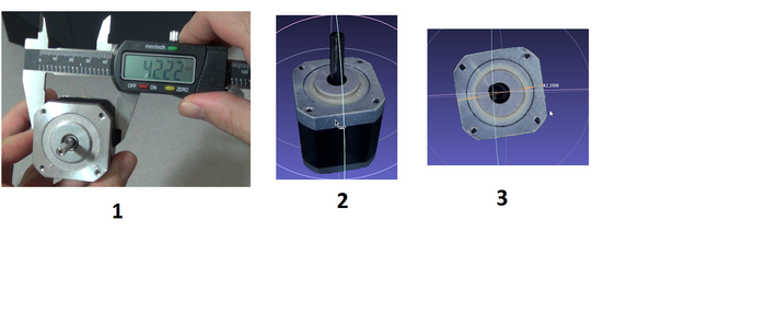 1. Measuring a real stepper motor's width with a caliper (42.22mm). 2. Scanning the motor. 3. Measuring the width through software (42.25mm)