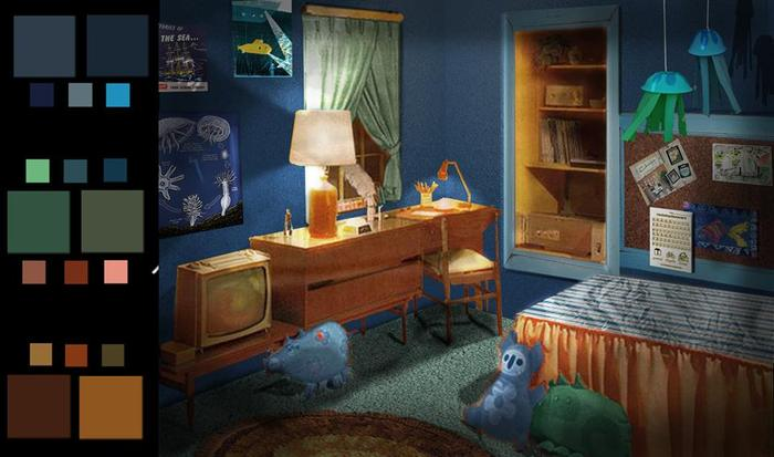 Set render of Huck's bedroom by Rebecca Runyon