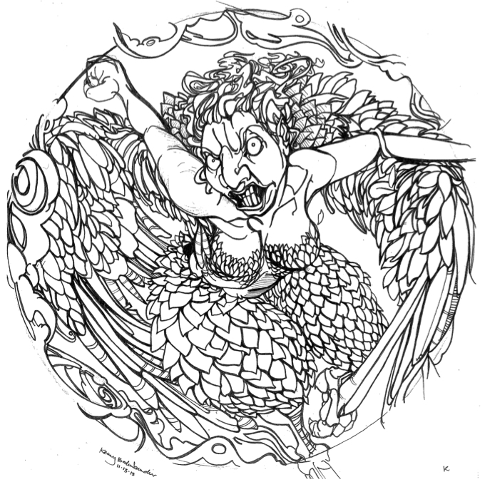 Harpy, Air Coin, 20 Denom Final Line Art