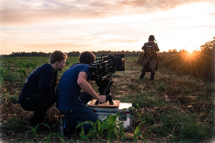 """Christian (Director) and Tucker (DoP) shooting a scene for another film, """"The Last of Us"""""""
