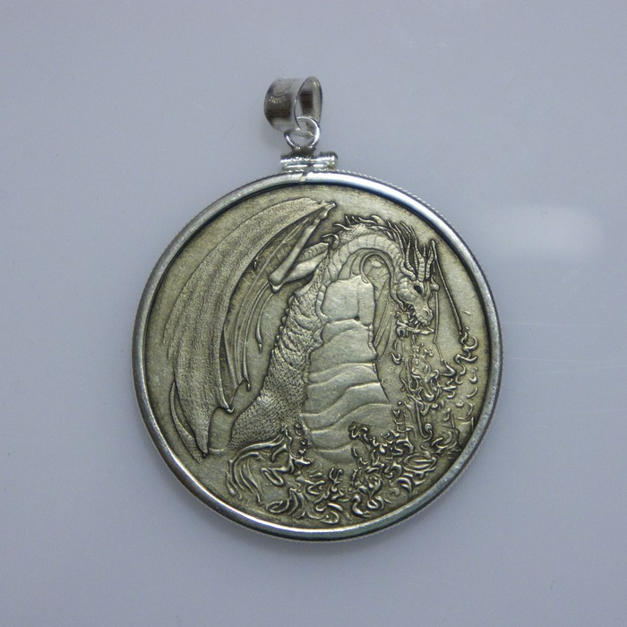 Sterling Silver Bezel, add on - Shown with the Fire Dragon Coin (not included)