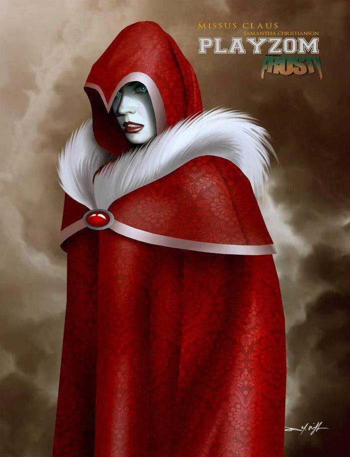 FROSTY, the character MISSUS CLAUS, modeled after Samantha Christianson. Graphite, digital painting and photo texture (pattern on robes), 2012.