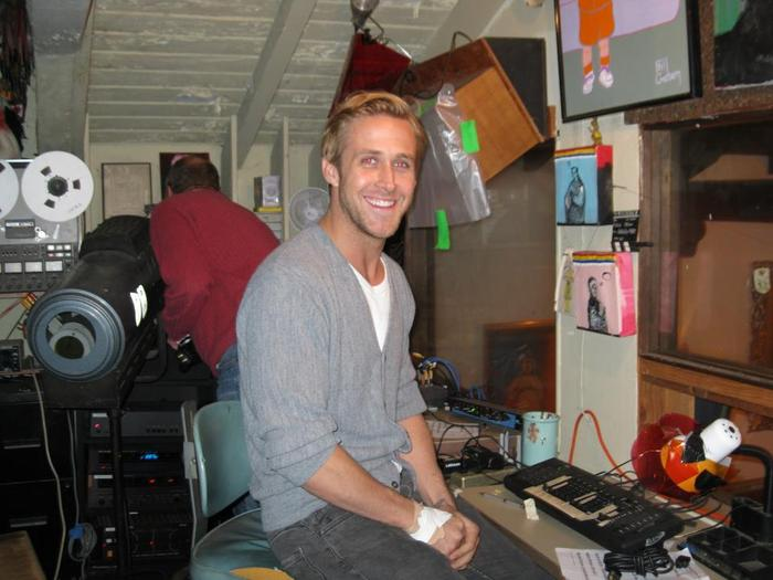 Ryan Gosling in the Brookledge booth. (photo: Erika Larsen)