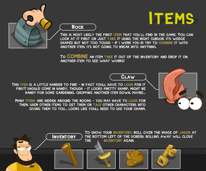 Items and inventory - the must have's for an adventure in Ancient Greece
