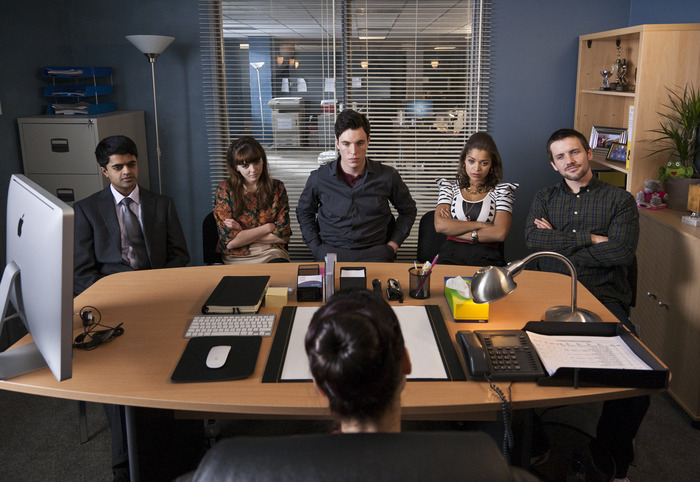 Left to right: Divian Ladwa, Ophelia Lovibond, Tom Hughes, Antonia Thomas, Jack Ashton. Foreground: Montserrat Lombard