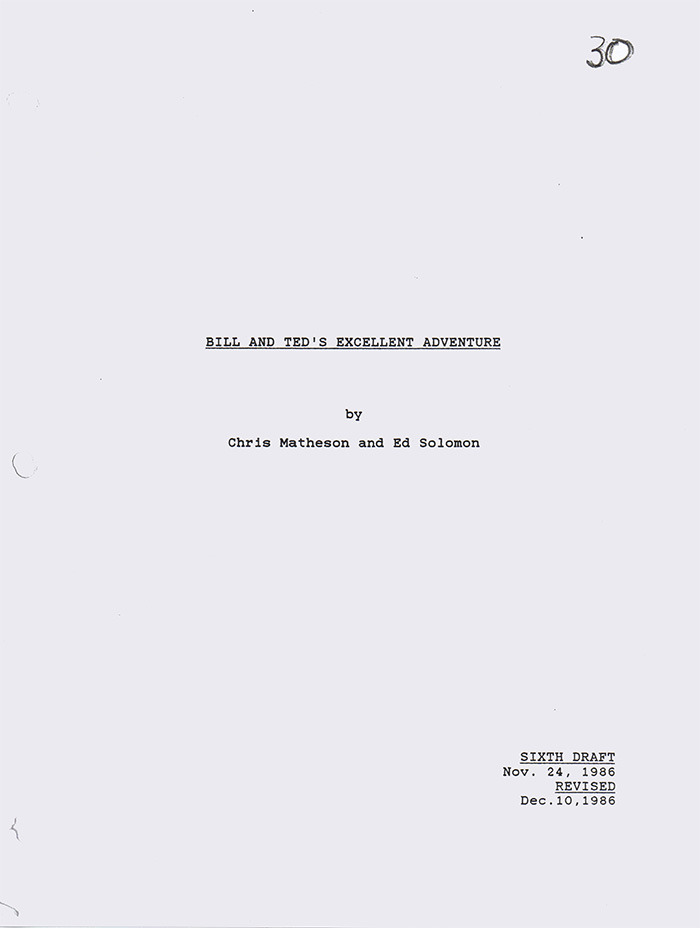 AUTOGRAPHED 'BILL & TED' SCREENPLAY