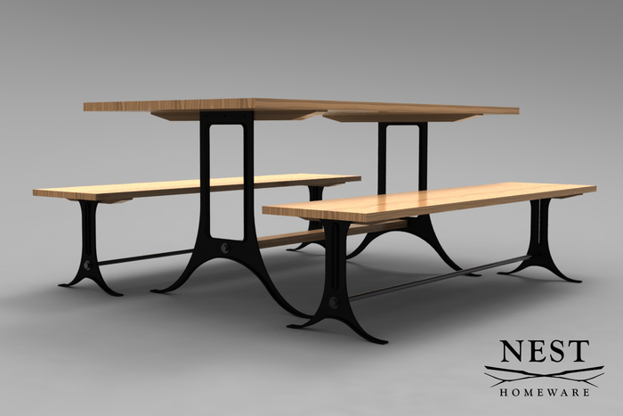 CAD rendering of the dining table and benches. Iron legs, White Ash butcher block tops.