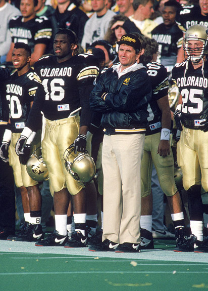 Coach Bill McCartney Looking On As Colorado Marches Towards A National Championship